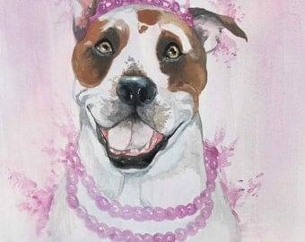 Pitbull Watercolor Art Print, Princess Pitbull, Pitbull Painting, Pitbull Wall Art, Pitbull Wall Decor, Dog Lover Gift, Home Decor