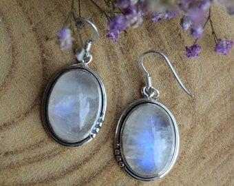 Moonstone Earrings, Sterling Silver Earrings, Boho Earrings, Handmade Jewelry, White Gemstone Earrings, Moonstone Jewelry, Gift for women