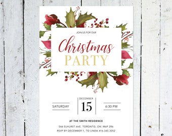 Christmas Party Invitation, Christmas Party, Holly, Poinsettias, Floral, Watercolor, Modern, Christmas Invitation, Printed, Printable