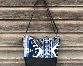 Pendleton and Leather Crossbody Bag, Leather Hand Bag, Leather Bag, Pendleton Crossbody Bag, Womens Purse, Pendleton, CrossBody, Handcrafted