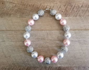 Pink Silver Pearl Chunky Necklace, Pearl Chunky Necklace, Pink & Silver Chunky Necklace, Bubblegum Bead Necklace, Baby Bubblegum Necklace