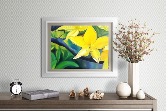 Big yellow flower, original oil by Francesca Licchelli, giclée fine art print, home decore idea, modern decoration, wall contemporary art.