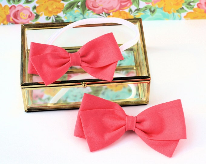 Hair Bow Pink - Hair Bows and clips for Baby Girls - Strawberry Pink