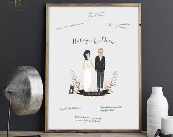 Guest book Alternative, Guestbook Photo Sign, Guestbook Sign, Illustrated Portrait, Wedding Portrait, Portrait Guestbook, Guest Sign-In #ICS
