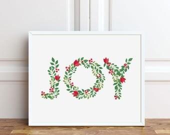 Joy Christmas Prints, 5x7, 8x10 Print, Instant Download, Holiday Decorations, Printable Art, Seasonal Party Decor, Sign, Digital Download