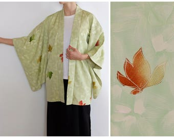 Delicate Green Japanese Kimono - Silk - Vintage - Short Kimono Robe - Leaf Motif - Pastel Green Kimono - Haori - Women's Short Kimono Robe