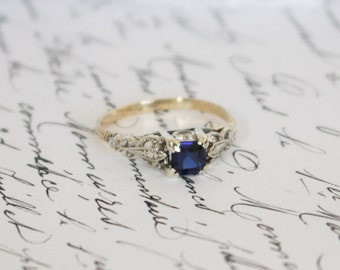 Antique/Vintage Yellow and White Gold Blue Stone (Sapphire?) Ring, Engagement Ring