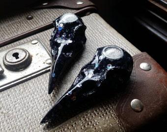 Medium Black Glitter Holographic Raven Skull