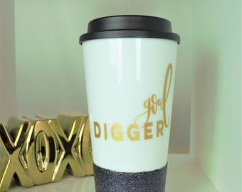 goal digger, girl boss, lady boss, tumbler, coffee mug, coffee mugs, coffee tumbler, co worker gift, lady boss mug, coffee mugs, glitter mug