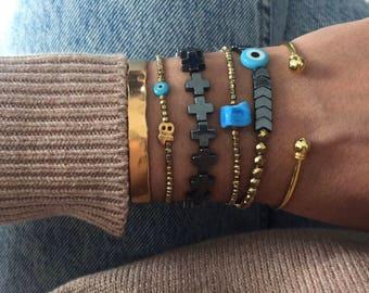 Women's Bangle, Gold Bangle Bracelet, Crosses Bracelet, Blue Bead Bracelet, Arrows Bracelet, Bangles Jewelry, Gift for Him.