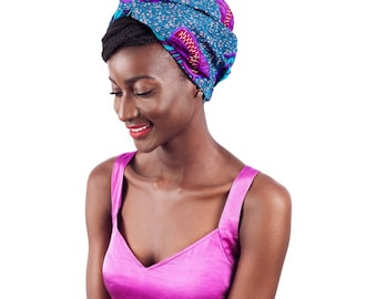 Tribal Print/African Print Satin Lined Turban (Teal/Purple) | Turbans for  Natural/Curly Hair