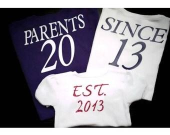 Family Tshirts/ Custom toddler Shirt / Custom family shirts/ Family Jerseys/ Matching family birthday /Family photo shirt - Parents Since