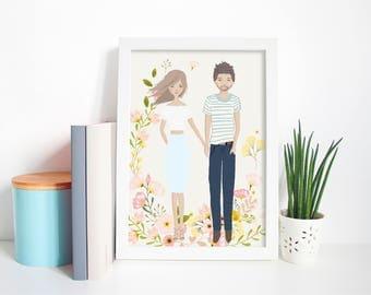 Couples personalised illustrated portrait, custom portrait, personalised family print