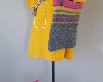 M / OUTFIT ENSEMBLE CREATION / Mustard Yellow Dress w/ Pink Size 8.5 GoGo Boots / Grey Purse and Accessories