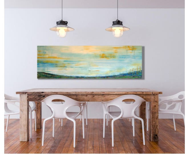 Horizontal Wall Art - Horizon Sunshine, Abstract Sunset Shimmer Sunrise, Very Large Horizontal Painting, 20x60 Canvas Wrap Art Prints Decor