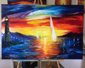 Sunset Harbor- Sail Boat - Sunset oil painting by U.S. artist Greg Gilreath