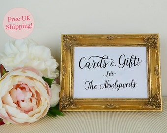 Cards and Gifts Sign, Gift Table Sign, Wedding Signage, Card Box Sign, Modern Calligraphy, Two sizes 5x7 8x10, White or Kraft, FREE SHIPPING