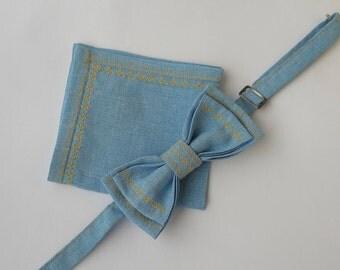 Men linen bow tie, Blue bow ties, Wedding bow tie, Gift for groom, Folk bow tie, Groom accessory, Groomsmen accessories, Wedding photo props