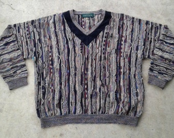 Vintage 80's /90's Textured & Colourful Tundra 3D knit sweater Made in Canada XXL