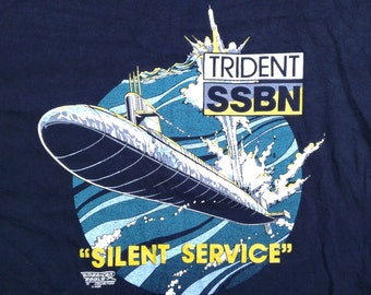 "Vintage 1989 Submarine Trident SSBM Gunboat ""Silent Service"" double-sided t-shirt Made in USA XL"