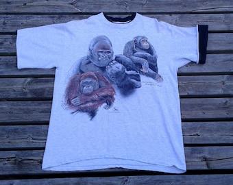 Beautiful 80's / 90's Gorilla Monkey Orangutan Vintage t-shirt grey large