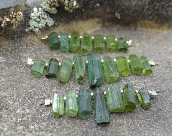 Green Tourmaline | Raw Rough Top Drilled Sticks Daggers | 8-17x5mm | Sets of 5, Sets of 7, Sets of 9