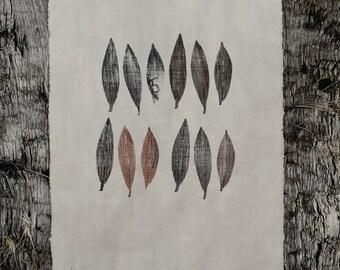 ART / Monoprints / Olive Leaves / Leaf / Cotton / Original art / Original gift / Unique / Hand dye / Mixed media / Paintings