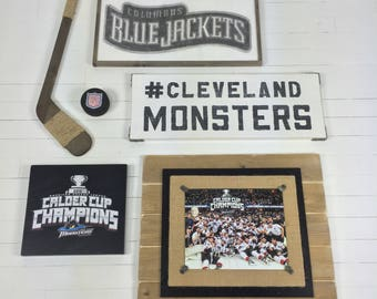 Cleveland Monsters Wooden Sign Hockey Wooden Sport Sign Cleveland Wooden Mans Cave Sign Hand Painted Sign
