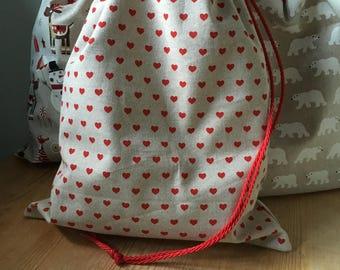 NEW Christmas red hearts stocking / sack with lining - can be personalised
