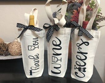 Custom Wine Tote, Set of Three Wine Totes, Thank You Gift, Hostess Gift, Wine Gift, Canvas Wine Bag