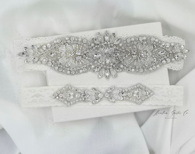 Wedding Garter, NO SLIP Lace Wedding Garter Set, bridal garter set, vintage rhinestones