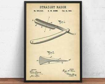 Barber Razor 1902 Patent Print, Antique Razor Printable, Barber Shop Decor, Barber Print, Barber Shop Wall Art, Barber Poster, Barber Gifts