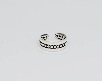Bead Oxidized Sterling  Silver Toe Ring, Boho Ring, Adjustable Ring, Sterling Silver Jewelry