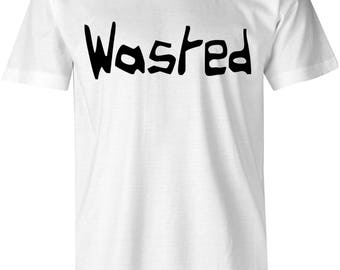 Wasted Shirt Mens & Womens, 420 Shirt, Stoners Clothing, Hemp T-Shirt, Weed Shirt, Hipster Trend Fashion, Gift Idea - White/Black
