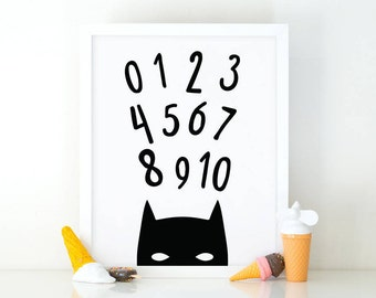 123 batman, numbers Wall Art Set, superhero Print, Numbers set, Instant Download, Nursery Wall Art print, kids room decor, Numbers wall art