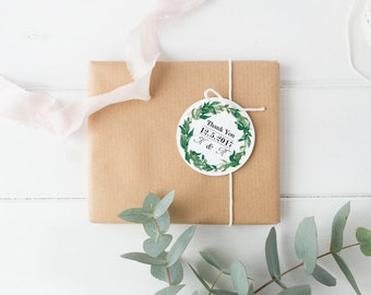 Natural Wedding Thank You Tag, Leaf Tags, Bonbonierre Tags, Wedding Favour Tag, Wedding Favor Tags, Circle Thank You Tags, Wedding Gift Tags