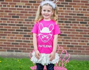 Rabbit with glasses shirt, nerd bunny, bunny shirt, kids shirt, hipster kid shirt, personalized shirt, bunny name shirt, personalized rabbit