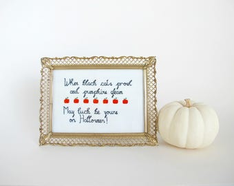 Vintage Halloween Decor, Framed Cross Stitch, When Black Cats Prowl And Pumpkins Gleam May Luck Be Yours On Halloween