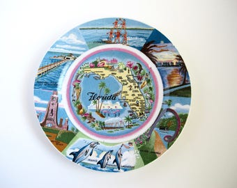 Map Of Florida Vintage Plate Wall Decor