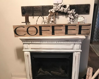 Large coffee sign   4 foot sign   farmhouse kitchen sign   rustic wall decor   hand painted sign