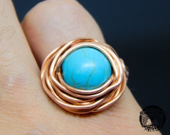 Wire wrapped ring Turquoise ring Copper ring Steampunk ring Wire wrap ring Mens ring Womens ring Magic ring Best gift For her For him