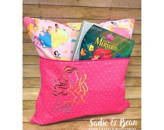 Reading Pocket Pillow, Princess Pillow, Girls Pink Pillow, Princess, Girl's Bedroom, Travel Pillow for kids, Girls bedding, reading pillow