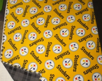 Bright Pittsburgh Steelers Fleece Blanket - With Plaid on Reverse
