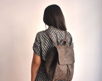 Faux Leather Dark Brown Backpack - Vegan Backpack - Water Resistant - Vegan Leather - Rustic Leather - Distressed Leather - Boho Bag - Gifts