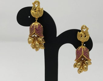Temple Earrings - Temple Jhumka Earrings - Temple Jewelry - Indian Jhumki Jhumka Earrings - Indian Jewelry - Indian Bridal Earrings -