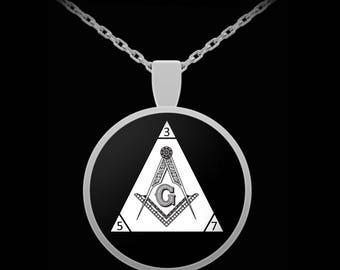 Freemason necklace - Masonic triangle 357 symbol square and compass