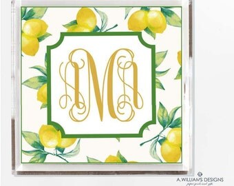 Monogrammed Lemon Lucite Tray-Acrylic Tray/ Personalized desk organizer Tray/ custom catch all/comes in two sizes 6x6-12x12/Makes great gift
