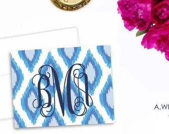 Monogrammed Ikat folded Notecards/blank greeting cards/ Personalized Thank You or greeting note cards 3.5x5/ Blue Ikat with Navy monogram