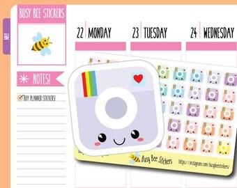 Instagram Planner Stickers, Social Media, Instagram Logo,  Icon, Camera Stickers, Kawaii, Mini, Happy Planner Stickers, Erin Condren Sticker