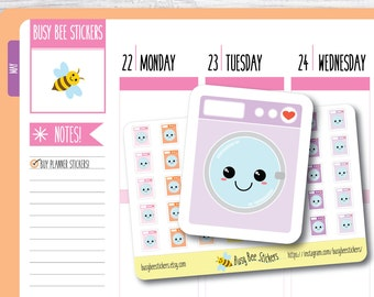 Washing Machine Planner Stickers, Laundry Stickers, Cleaning, Chore, Household, Kawaii, Happy Planner Stickers, Erin Condren Stickers